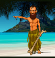 cartoon wild angry man living on a desert island vector image
