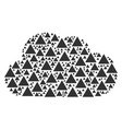 cloud composition of filled triangle icons vector image vector image