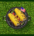 corn on the grill realistic delicious vector image vector image