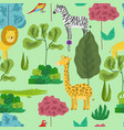 cute cartoon pattern with jungle animals in forest vector image