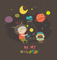 cute girl with planets of the solar system vector image