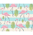 Cute seamless pattern with flamingos and palm vector image vector image