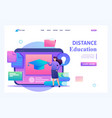 girl with educational materials distance education vector image