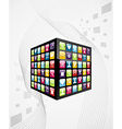Global mobile phone apps icons cube vector image vector image