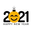 greeting card for 2021 new year with smiling vector image