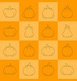 halloween pumpkin icon set emboss line with shadow vector image