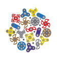 hand spinners icons set fidget spinner toys vector image