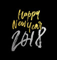 happy new year 2018 golden glitter calligraphy vector image vector image