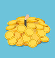 isometric businessman drowned in gold coin pile vector image