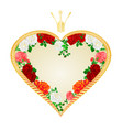 label golden heart with a crown red pink vector image vector image