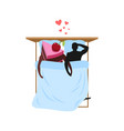 lover of cakes man and piece of cake in bed vector image vector image