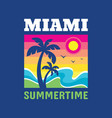 miami summertime - badge design for t-shirt logo vector image vector image