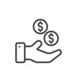 money hand icon line banking symbol vector image