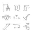 monochrome set with line plumbing icons vector image