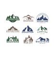 mountain logo flat set vector image