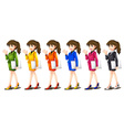 Office workers in different uniforms vector image vector image