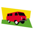 old red minibus 60s style car vector image vector image