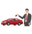 passenger car and businessman holding key vector image
