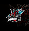 robot mascot sport logo design vector image vector image