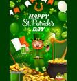 saint patricks day leprechaun gold and beer vector image vector image
