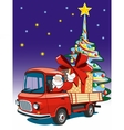 Santa Claus delivers gifts on red truck vector image vector image