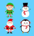 santa claus elf snowman penguin set happy new vector image