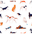seamless pattern with different dogs breed vector image vector image