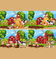 set children playing at farm vector image vector image