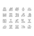 set metallurgy industry line icons metal vector image