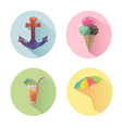 Set of flat design summer icons isolated vector image