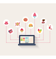 Set of food icons on a blog vector image vector image