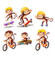 set of monkey character with activity vector image vector image