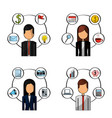 set of people busines office items vector image
