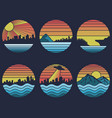 shoreline sunset retro vector image