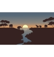silhouette of elephants in the river vector image vector image