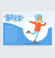 smiling boy in winter clothes boys banner for vector image