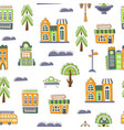 urban landscape seamless pattern cute hand drawn vector image