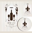wine set of elements for design of restaurant vector image