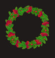 wreath with red berries and christmas tree vector image vector image