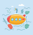 yellow submarine under sea vector image