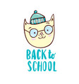 back to school with cartoon cat vector image