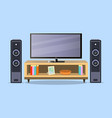 design tv zone in a flat style interior living vector image
