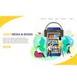 audiobooks online landing page website vector image vector image