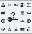 auto icons set with temperature chassis caution vector image