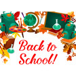 Back to school greeting poster of education items
