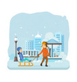 boy rolls girl on snow dressed in winter clothes vector image vector image