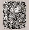 cartoon doodles pizza toned vector image vector image