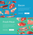 cartoon meat elements horizontalweb banners vector image vector image