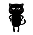 cat kitten kitty standing black silhouette icon vector image vector image