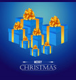 christmas card with blue background and gift box vector image